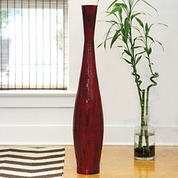 PoliVaz Red Bamboo Medium Decorative Vase (Indonesia)