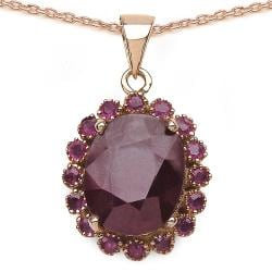 Malaika 5.80ctw 14K Rose Gold Overlay Silver Ruby Necklace