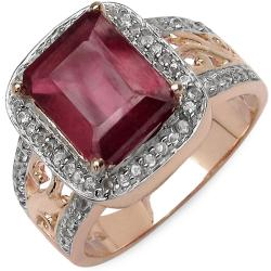 Malaika 4.10ctw 14K Rose Gold Overlay Silver Ruby & Topaz Ring