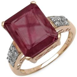 Malaika 8.70ctw 14K Rose Gold Overlay Silver Ruby and 1/5ct TDW Diamond Ring (I2-I3)