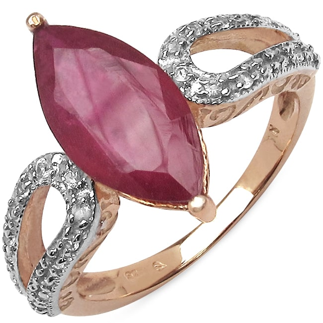 Malaika 5.20ctw 14K Rose Gold Overlay Silver Ruby & Topaz Ring