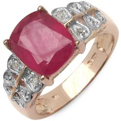 Malaika 4.30ctw 14K Rose Gold Overlay Silver Ruby & Diamond Ring