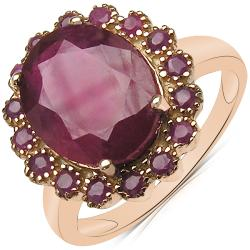 Malaika 5.80ctw 14K Rose Gold Overlay Silver Oval Ruby Ring