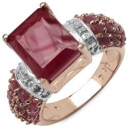 Malaika 5.80ctw 14K Rose Gold Overlay Silver Ruby & Topaz Ring