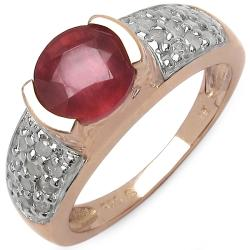 Malaika 2.10ctw 14K Rose Gold Overlay Silver Ruby & 1/3ct TDW Diamond Ring (I2-I3)