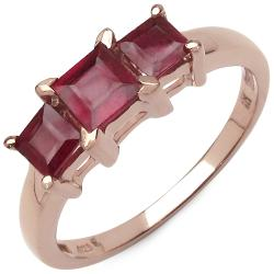 Malaika 1.30ctw 14K Rose Gold Overlay Silver Ruby Ring
