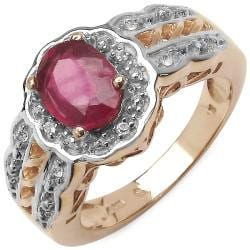 Malaika 1.83ctw 14K Rose Gold Overlay Silver Ruby Ring