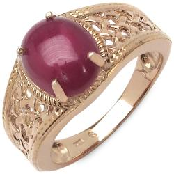 Malaika 5.40ctw 14K Rose Gold Overlay Silver Ruby Ring