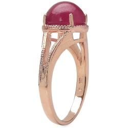 Malaika 3.60ctw 14K Rose Gold Overlay Silver Ruby Ring