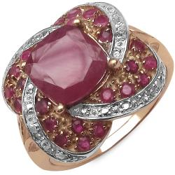 Malaika 2.40ctw 14K Rose Gold Overlay Silver Ruby Ring