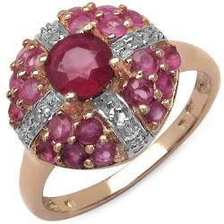 Malaika 1.60ctw 14K Rose Gold Overlay Silver Ruby & Diamond Ring