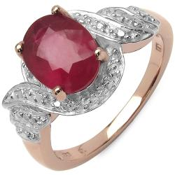 Malaika 2.40ctw 14K Rose-gold-overlay Silver Red Ruby Ring