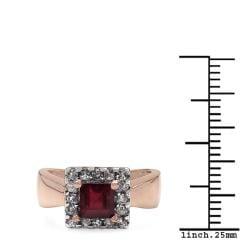 Malaika 1.40ctw 14K Rose Gold Overlay Silver Ruby & Topaz Ring
