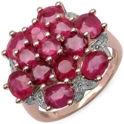 Malaika 5.70ctw 14K Rose Gold Overlay Silver Ruby Ring