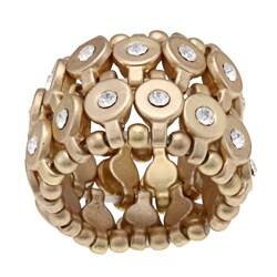 Goldtone Clear Crystal 2-row Disc Fashion Stretch Ring