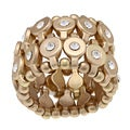 Goldtone Clear Crystal 2-row Disc Fashion Stretch Ring
