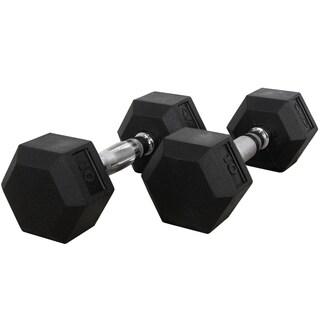 Valor Fitness 10 lb Black Rubber Hex Dumbbells (Set of 2)