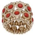 Goldtone Red Crystal 2-row Disc Stretch Fashion Ring