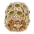 Goldtone Green Crystal 2-row Disc Stretch Fashion Ring