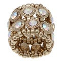 Goldtone Auroroa Borealis Crystal 2-row Disc Stretch Fashion Ring