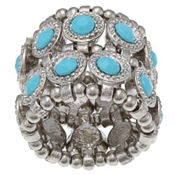 Silvertone Turquoise Crystal 2-row Disc Stretch Fashion Ring