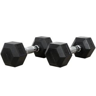 Valor Fitness 15 lb Black Rubber Hex Dumbbells (Set of 2)