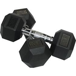 Valor Fitness 20 lb Black Rubber Hex Dumbbells (Set of 2)