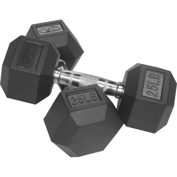 Valor Fitness 25 lb Black Rubber Hex Dumbbells (Set of 2)