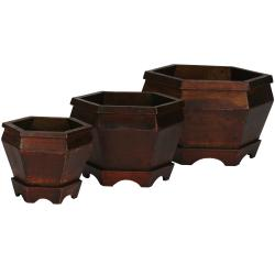 Wooden Hexagon Decorative Planters (Set of 3)