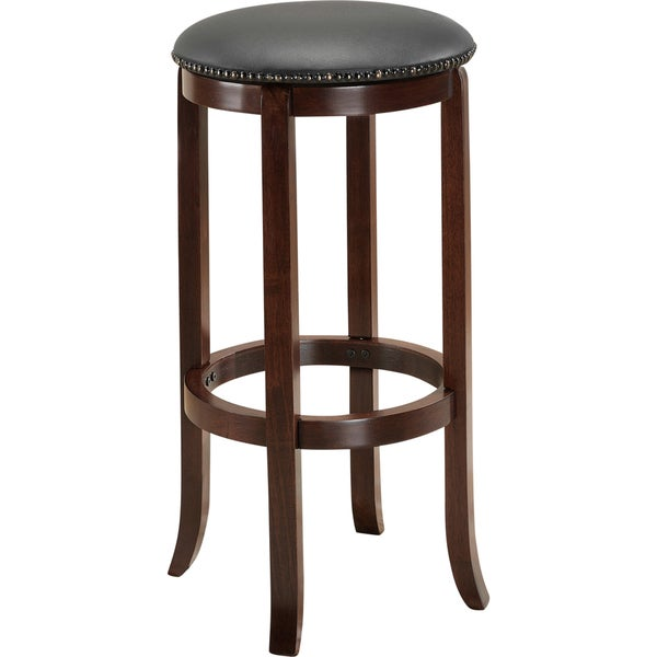 Lewisville 24 Inch English Tudor Swivel Counter Stool