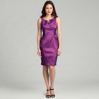 London Times Women's Magenta Side Ruche Sheath Dress