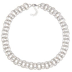 Roman Silvertone Double Link Fashion Necklace