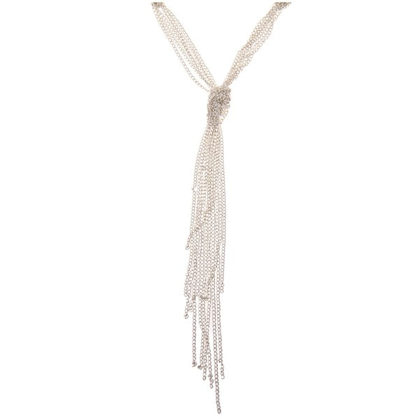 Roman Silvertone Knotted Chain 40-inch Y Necklace