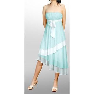 Evanese Women's Two-tone Strapless Tiered Asymmetrical Dress