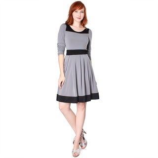 Evanese Women's Two-tone Long-sleeve Dress