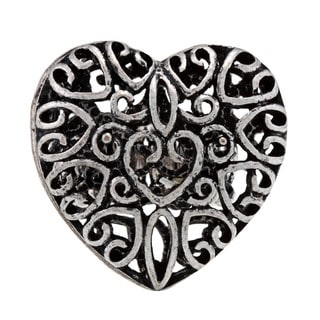 NEXTE Jewelry Silvertone Filigree Heart Stretch Ring