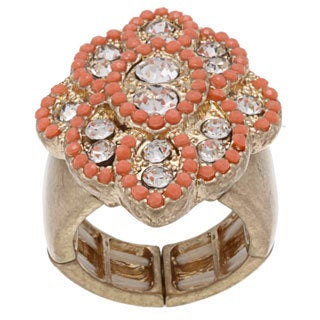 NEXTE Jewelry Goldtone Rhinestone and Mikado Bead Ring