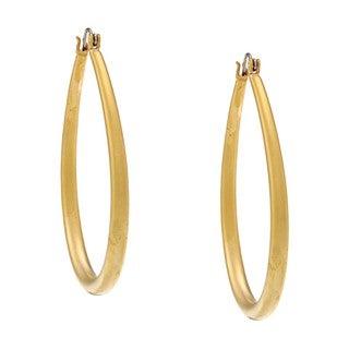 NEXTE Jewelry 14K-Gold Overlay Matte Teardrop Saddle-BackHoop Earrings