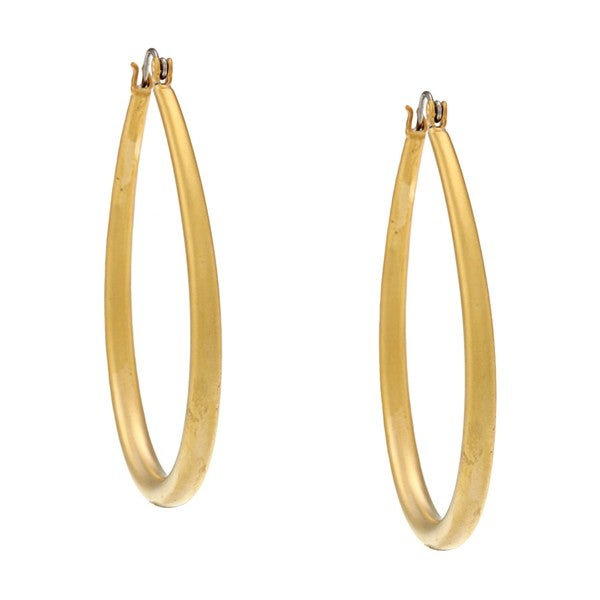 NEXTE Jewelry 14K-Gold Overlay Matte Teardrop Saddle-BackHoop Earrings