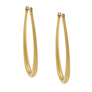 NEXTE Jewelry 14k Gold Overlay Matte Teardrop Hoop Earrings