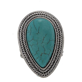 NEXTE Jewelry Silvertone Faux Turquoise Teardrop Stretch Ring