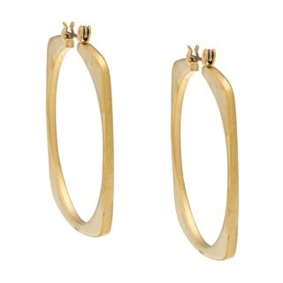 NEXTE Jewelry 14k Gold Overlay Matte Round-in-square Hoop Earrings
