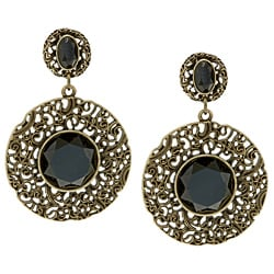 Kate Bissett Silvertone Black Crystal Drop Earrings