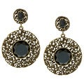 Kate Bissett Silvertone Black Crystal Drop Earrings