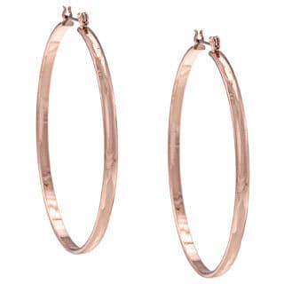 NEXTE Jewelry Rose Goldtone Razors Edge Round Hoop Earrings