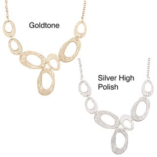 Kate Bissett Goldtone or Silvertone Abstract Oval Link Necklace