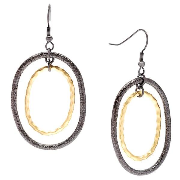 Kate Bissett 14k Matte Goldplated and Hematite Textured Hoops Dangle Earrings