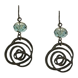 Kate Bissett Black-plated Blue Crystal Rose Design Earrings