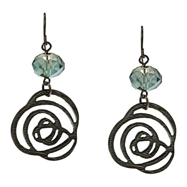 Kate Bissett Black-plated Blue Crystal Rose Design Earrings