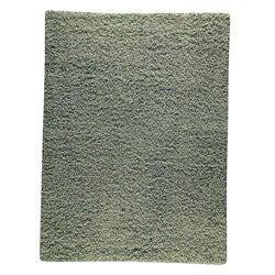 Hand-woven Smix Green Wool Rug (6'6 x 9'9)